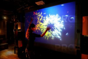 accent projection film single interactive display