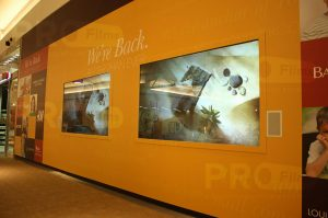 definition rear projection film mall display front view