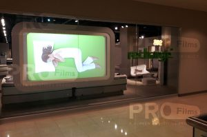 definition rear projection film indoor custom display outside view