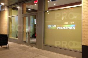 definition rear projection film large store front display
