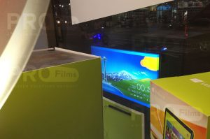definition rear projection film store front display
