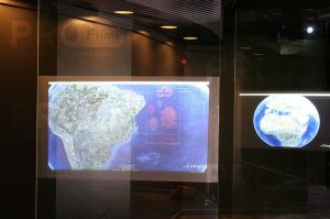 intrigue transparent rear projection film display