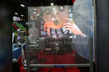 clear rear projection film showcase display