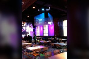 restaurant intrigue rear projection film hanging display